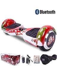 """[Regalo Navidad] Cool&Fun Hoverboard Patinete Eléctrico Scooter Talla 6.5"""" de Shop Gyrogeek Bluetooth (C-Rojo)"""