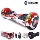 Cool&Fun Hoverboard 6,5 pouces Smart Scooter Skateboard Électrique Gyropode de Boutique GyroGeek( Rouge, Motif Bonheur )