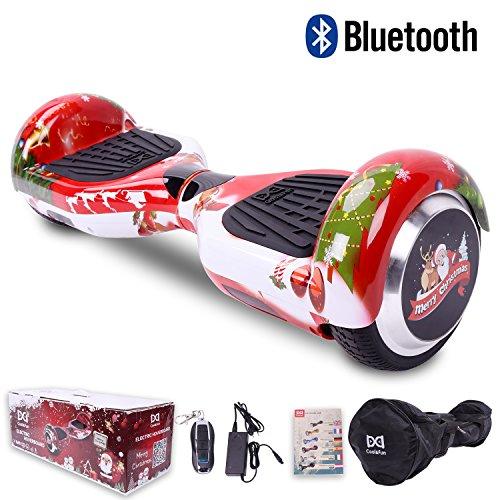 [Regalo Navidad] Cool&Fun Hoverboard Patinete Eléctrico Scooter Talla 6.5' LED 350W*2 Bluetooth de Shop Gyrogeek (C-Rojo)