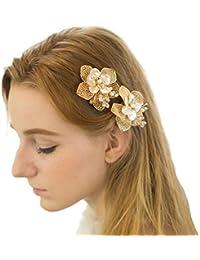 Pinzas de pelo de oro perlas hojas flor accesorios de la boda tocado de novia
