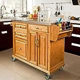 SoBuy Carrello di servizio, Scaffale da cucina,Buttler,Mobili cucina,bambù+ acciaio(piano), FKW14-N, IT