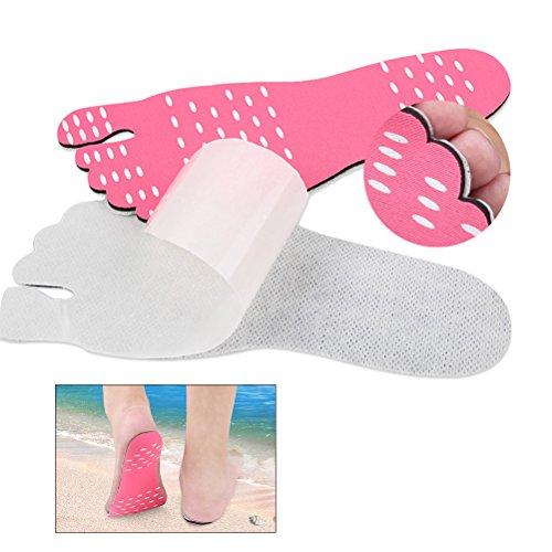 ROSENICE Sandales pieds nus Imperméable anti-dérapant Stick Feet Pad Invisible Chaussures de plage Insérer une taille L (Rose)