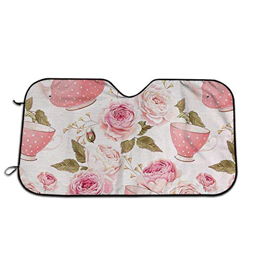 mchmcgm Tea Cups with Roses Car Windshield Sunshade - Wind Shield Sun Shade - Visor Heat Shield Protector - Keeps Out UV Rays - Vorderseite Autosonnenschutz Windshield Rose Cup