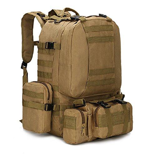 JUCAI New 50L Molle tactique Sac à dos d'assaut militaire extérieure Sac à dos de camping Sac Grand sac à dos de voyage, marron