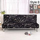 Monba Sofabezug mit Blumenmuster, Armlos, Polyester Stretch Schonbezüge Sitzbezug Couch Schutz passt Klappsofa Bett ohne Armlehnen Style 8