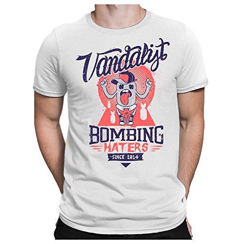 PAPAYANA Bombing-Haters - Herren T-Shirt - No War Freedom Vintage, XL, Weiß