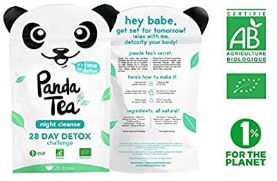 Panda Tea Night Cleanse - infusion bio menthe - 28 sachets mousselines en coton