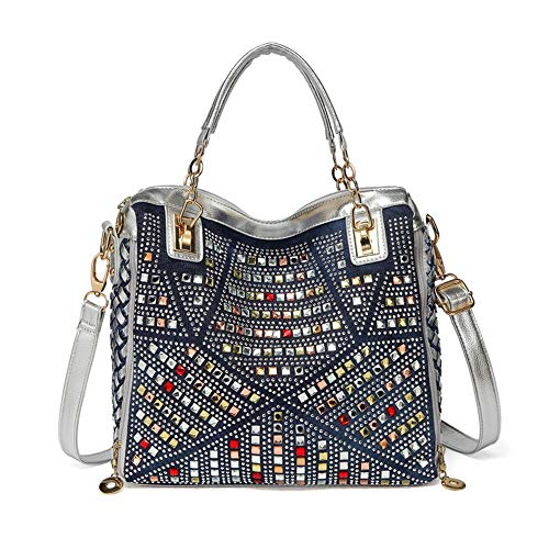 b0228d60bd Générique Sac à Main pour Femme Grand Oxford Sacs à bandoulière Style Jean  Patchwork et decorationbag