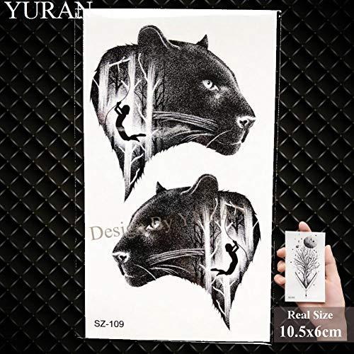 GHHCG Elch , Temporäre Tätowierung Männer Arm Aufkleber Schwarzer Wolf wasserdichte Tatoos Frauen Hände Kleine Geparden Tattoo Supplies, Gsz109