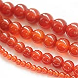 Juliewang 2fili di perle naturali di pietra preziosa rotonda sciolto perline agata rossa guarigione per fare gioielli fai da te, 8 mm