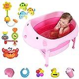 SLDAGe Baby-Badewanne, Faltbare Baby-Duschwanne PP + TPR-Material Geeignet FüR Kinder Von 0 Bis 10...
