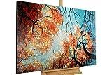 KunstLoft® Acryl Gemälde 'Tanz der Baumkronen' 120x75cm | original handgemalte Leinwand Bilder XXL | Bäume Herbst Wald Gold Orange Jahreszeiten | Wandbild Acrylbild moderne Kunst einteilig mit Rahmen