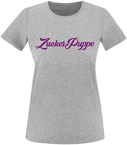 EZYshirt® Zuckerpuppe Damen Rundhals T-Shirt Grau/Violett