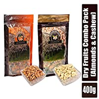 Wonderland Foods Dry Fruits Combo of California Almonds 200g + Raw Cashew 200g
