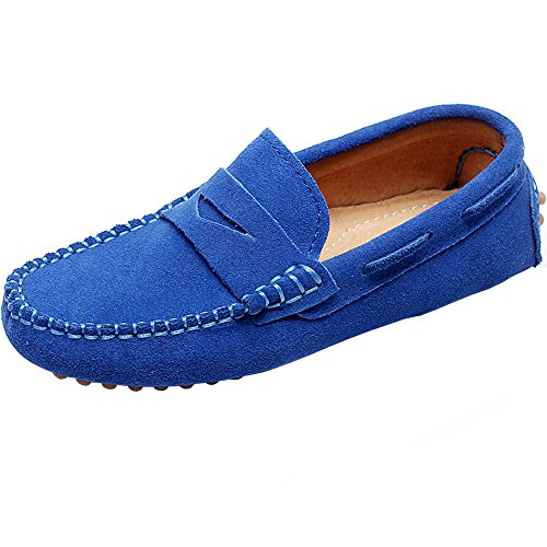 Shenn Ragazzi Ragazze Linda Comfort Messe in Pelle, Scarpe S8884 Bambino, (Real Azul), 30 EU Bambino
