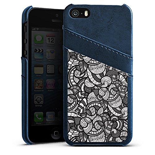 Apple iPhone 5s Housse étui coque protection Cercles Ornement Monochrome Étui en cuir bleu marine