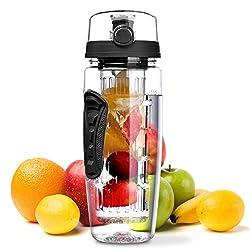 Wasserflasche, OMorc [BPA-frei Tritan] Kunststoff Trinkflasche Sport Flasche 1L Sportflasche Auslaufsicher, Trinkflaschen mit Verschluss & Tragehenkel für Fruchtschorlen/Gemüseschorlen-Schwarz