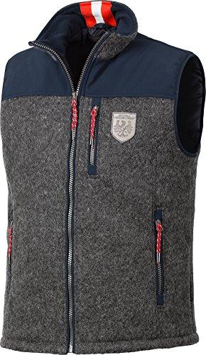 Tiroler Loden Walkfilz-Softshell Weste, Gilet in moderner Trachtenoptik in grau / blau - auch in großen Größen (Herren Weste Wolle)