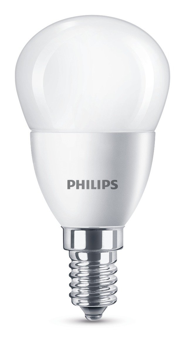 Philips LED bombilla esférica de casquillo fino E14, consume 5.5 W equivalente a 40 W en incandescencia, luz blanca cálida, pack de 2 unidades