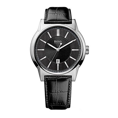 HUGO BOSS' arquitectura ' redondo de la correa de cuero reloj de pulsera para mujer, 44 mm