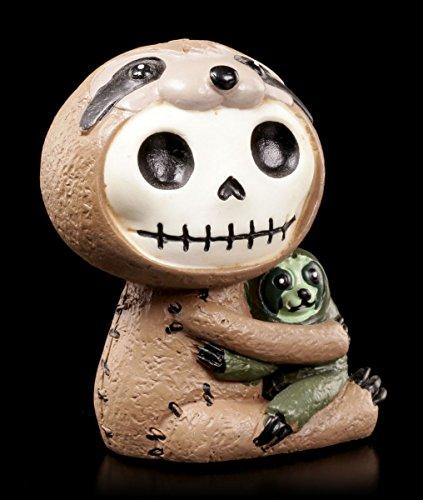 Kostüme Faultier Ideen (Furrybones Figur | Faultier Sloth mit Baby | inkl. Geschenkbox für Sammler | Lustige Deko Totenkopf)