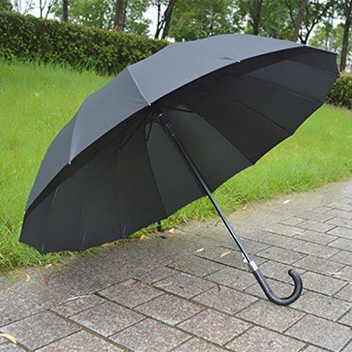 Unbekannt &Taschenschirm 16 Knochen Große Doppelhaken Plain Automatische Langen Griff Regenschirm Paar Familie Regenschirm Schatten Regenschirm (Farbe : A)