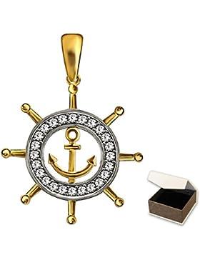 CLEVER SCHMUCK Goldener Anhänger Schiff Steuerrad Ø 18 mm mit kleinem Anker innen und vielen Zirkonias auf dem...