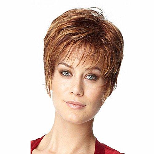 Parrucca di capelli corti capelli morbidi set naturali di parrucche bionda alta qualità e cappello parrucca gratis picture color two