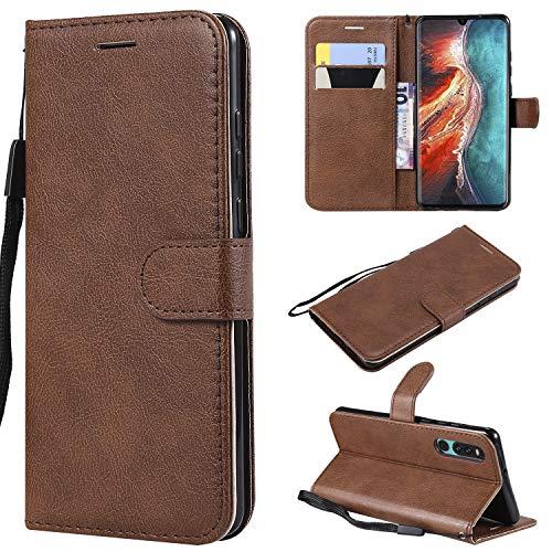 Artfeel Flip Brieftasche Hülle für Huawei P30, Premium PU Leder Handyhülle mit Kartenhalter,Retro Bookstyle Stand Hülle mit Magnetverschluss Handschlaufe-Braun -