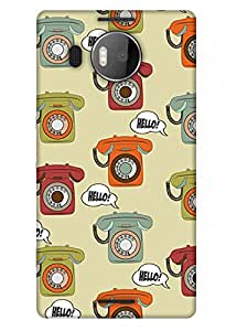 PrintHaat Designer Back Case Cover for Microsoft Lumia 950 XL :: Microsoft Lumia 950 XL Dual SIM (landline phone texture :: hello :: love talking on phone :: miss landline phone :: in orange, green, red and yellow)