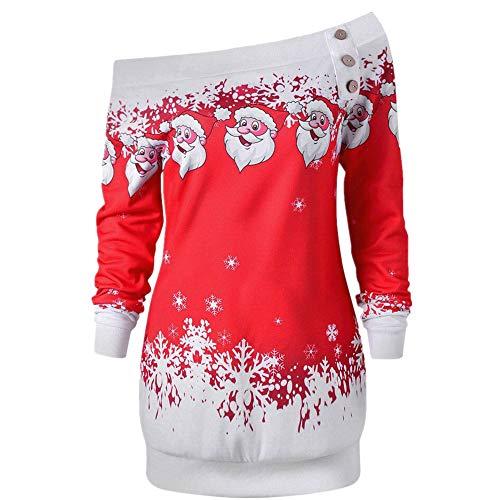 SEWORLD Weihnachten Retro Christmas Weihnachtsdruck Frohe Weihnachten Santa Schneeflocke Drucken Tops Langarm Lange Bluse ()