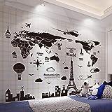 Eeemmm Carte Du Monde Stickers Muraux Diy Europe Style Bâtiments Stickers Muraux Pour Maison Salon...