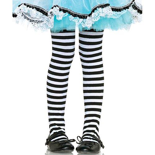 Leg Avenue 4710  - Gestreifte Strumpfhose, Größe: M, schwarz/weiß (Gestreifte Hose Halloween)