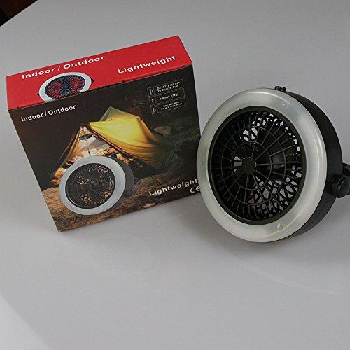 BeesClover tragbare batteriebetriebene LED-Lampe mit Mini-Ventilator für den Außenbereich, Camping, Zelt, Lampe mit Haken zum Aufhängen