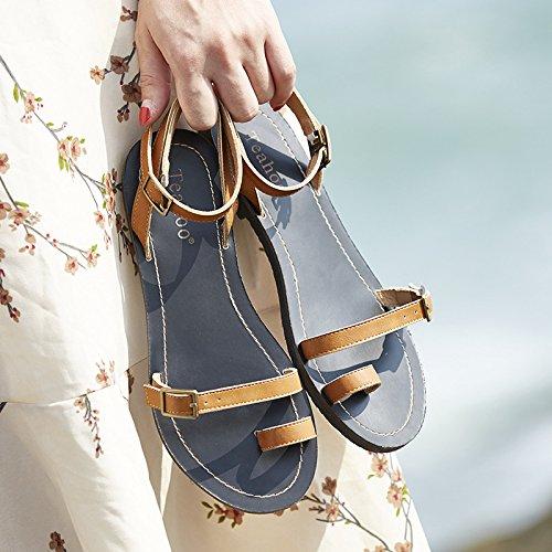 ZPPZZP Ms sandali pantofole fondo piatto uno studente selvatici in stile romano con operazioni di mantenimento della pace e di stile minimalista 37EU