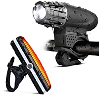 Gluckluz Bicycle Light Set Waterproof Mountain Bicycle Headlight and Taillight Sets Super Bright Front Light and Rear Light for Cycling Camping Hiking Safety