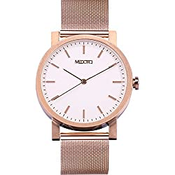 MEDOTA Stainless Steel Waterproof Watch Minimalist Umbra Series Swiss Watch Quartz Mens Watch - No. 21203 (Rose)