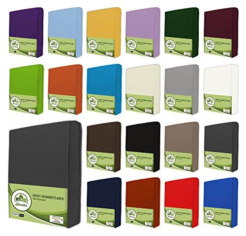 leevitex® Jersey Spannbettlaken, Spannbetttuch 100% Baumwolle in vielen Größen und Farben MARKENQUALITÄT ÖKOTEX Standard 100 | 90 x 200 cm - 100 x 200 cm - Anthrazit Grau
