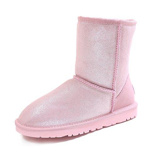 Heart&M Dolce due tube nella neve indossando pelle donna inverno nuovo tessuto perlescenti spessore caldo inverno stivali a