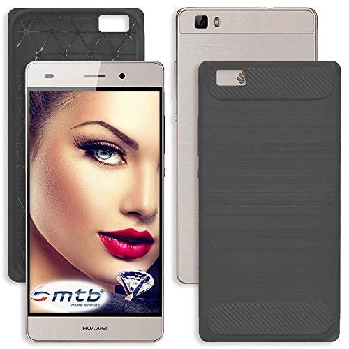 mtb more energy® Schutz-Hülle Carbon für Huawei P8 Lite (5.0'') | Anthrazit Grau | flexibel | TPU Case Cover Tasche