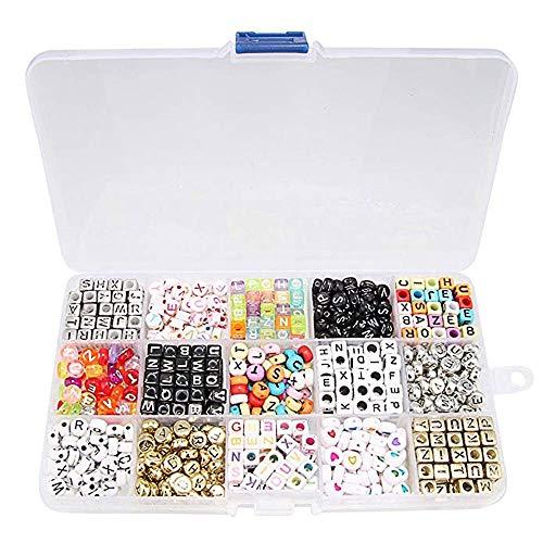 Beauty7 - 1100 Acryl Buchstaben Alphabet Perlen Cube Charms für Loom Bändchen Armbänder DIY Zubehör Set(15 Verschiedene Perlensorten in tollen Farben) (Loom-band-alphabet Perlen)
