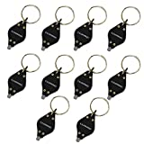 LUMAND Pack of 10 Black Mini LED Light Key Chain Flashlights Key Ring Id Currency Passports Detector