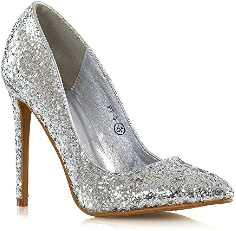 1c328666f4ad ESSEX GLAM GLAM Womens nhta-23308 Heel Stiletto High Heel Court Shoes Ladies  Glitter Slip On Pumps Size 3-8 B079ZZQ113 Parent 5a276a3