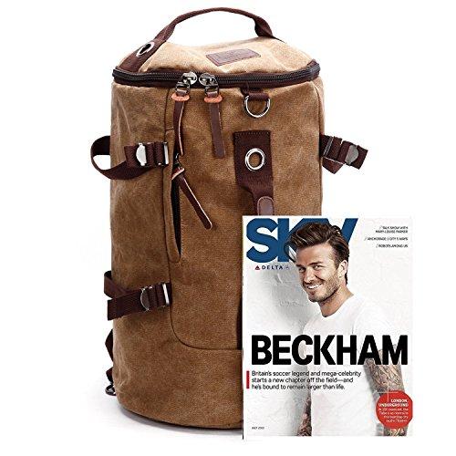 Canvas Men's Shoulder Backpack Shoulder Bag Rucksack Travel Gym Bag 2 Colours Kaffee