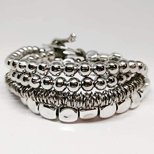 Imagen de pulsera uno de tres. pulsera mujer color plata y cuero, collar corto, largo y brazalete estilo uno de 50 antialérgica piedras naturales y zamak. regalo cumpleaños navidad san valentin boda