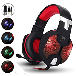AIZBO® Gaming Headset LED Over-Ear Headphone Stereo Headset with Mic,USB & 3.5mm for PC Computer Laptop (Red)