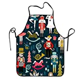 apnzll Nutcracker Ballet Xmas Holiday Christmas Aprons Professional Bib Apron For Women Men Girl Kids Gifts Kitchen Decorations