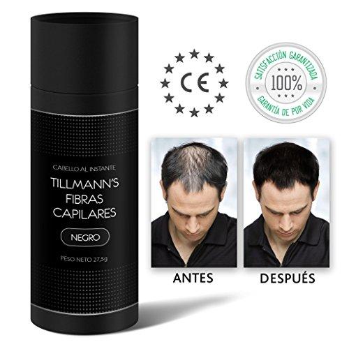 Tillmann's® Fibras Capilares Negro 27,5 gramos - Caida Cabello Hombre - Keratin Fibers - Disimular...