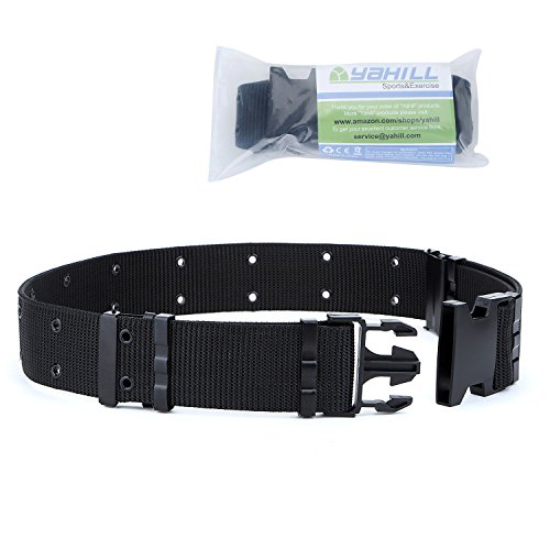 YAHILL Adjustable Safety Tactical Belt Heavy Rescue Belt by Sport & Outdoor Hunting (Black)