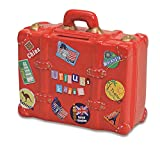 Spardose Urlaubskasse rot in Kofferform | Sparbüchse roter Reisekoffer mit Schlüssel und Schloss | Sparschwein abschließbar